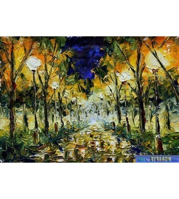 Landscape painting Night park 177